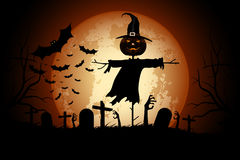 Halloween Zombie Party Poster. Holiday Card with Scarecrow. Royalty Free Stock Images