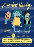 Halloween zombie party poster with monster group. Holiday advertising with funny undead, festive horror event invitation. Cute walking dead characters on club stock illustration