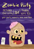 Halloween zombie party poster with monster head. In cemetery. Holiday banner with funny undead man, festive horror event invitation. Cute walking dead character stock illustration