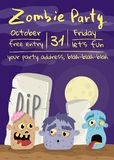 Halloween zombie party poster with monster heads. In cemetery. Holiday banner with funny undead man, festive horror event invitation. Cute walking dead royalty free illustration