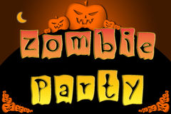 Halloween Zombie Party text on Background Stock Images