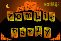 Halloween Zombie Party text on Background Stock Photography