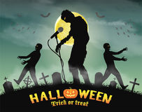 Halloween zombie singing party in night graveyard Stock Photos