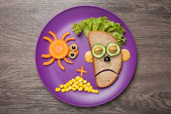 Halloween zombie and spider made of bread vegetables Stock Photos