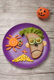 Halloween zombie and spider made of bread vegetables Stock Photo
