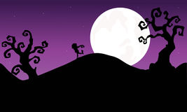 Halloween zombie walking in hills Silhouette Stock Photography