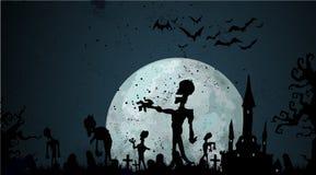 Halloween-zombieachtergrond Royalty-vrije Stock Afbeelding