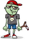 Halloween-Zombiekinderkarikaturillustration Lizenzfreie Stockfotografie