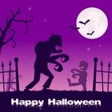 Halloween-Zombieën het lopen en Begraafplaats Royalty-vrije Stock Afbeelding