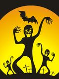 Halloween zombies. Scary halloween zombie poster. Happy halloween Vector Illustration