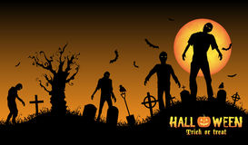 Halloween zombies in a graveyard. A halloween zombies in a graveyard Stock Image