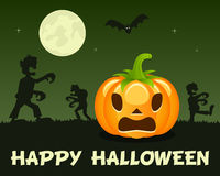 Halloween Zombies with Pumpkin on Green Royalty Free Stock Photos