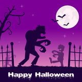 Halloween Zombies walking and Cemetery Royalty Free Stock Image