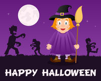 Halloween Zombies walking with Cute Witch Stock Photography