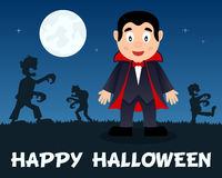Halloween Zombies walking with Dracula Royalty Free Stock Image