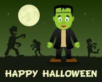 Halloween Zombies walking & Frankenstein Stock Image