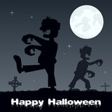 Halloween Zombies walking and Graveyard Stock Photos