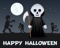 Halloween Zombies walking & Grim Reaper Stock Photo