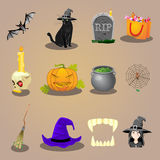 Halloween-Zubehör und Charakterikonen eingestellt Lizenzfreies Stockbild