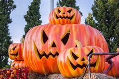 Halloween, zucche e paesaggio di Halloween Immagini Stock