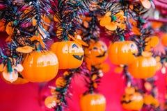 Halloween, zucche e paesaggio di Halloween Fotografie Stock