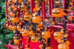 Halloween, zucche e paesaggio di Halloween Immagine Stock