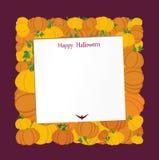 Halloween Zucche sotto forma di quadrato Cartolina d'auguri illustrazione di stock