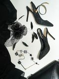 Halloween-zwarte van de inzamelingstoebehoren van de partij de vrouwelijke uitrusting op witte achtergrond, schoenen, doek, juwel stock afbeelding