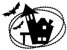 Halloween05. A beautiful halloween floral art black design and stamp Royalty Free Stock Photography