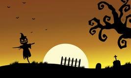 Halloweenn scarecrow silhouette Stock Photos