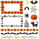 Halloweenowa śliczna dekorująca rama ikony Symbole ustawiający royalty ilustracja