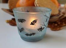 Halloweenowa świeczka dekorująca z nietoperzami Obrazy Royalty Free