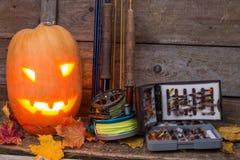 Halloweenowa bani głowa z połowów sprzętami Obraz Royalty Free