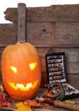Halloweenowa bani głowa z połowów sprzętami Zdjęcia Royalty Free