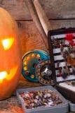 Halloweenowa bani głowa z połowów sprzętami Zdjęcia Stock