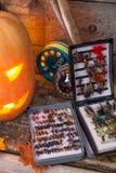 Halloweenowa bani głowa z połowów sprzętami Fotografia Royalty Free
