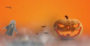 Halloweenowa bania 3d-illustration, duch i mgła royalty ilustracja
