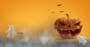 Halloweenowa bania 3d-illustration i duch royalty ilustracja