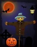 Halloweenowa bania i strach na wróble w nocnym niebie ilustracji