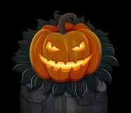 Halloweenowa bania jest uśmiechnięta Odizolowywający na czarny tle Zdjęcia Stock