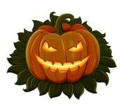 Halloweenowa bania jest uśmiechnięta pojedynczy białe tło Obraz Stock