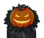Halloweenowa bania jest uśmiechnięta pojedynczy białe tło Zdjęcie Royalty Free