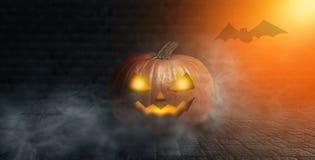 Halloweenowa bania na ciemnym tle z dymem i mgła przy nocą royalty ilustracja