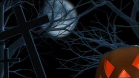 Halloweenowa bania na cmentarzu ilustracja wektor