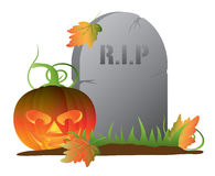 Halloweenowa bania nagrobek ilustracją Zdjęcie Royalty Free