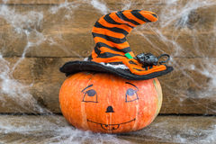 Halloweenowa bania, pająk sieć i szczur, obraz stock