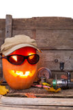 Halloweenowa bania w kapeluszu z połowów sprzętami Fotografia Royalty Free