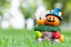 Halloweenowa bania w ogródzie obraz stock