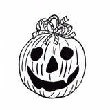 Halloweenowa bania z łękiem na białym tle royalty ilustracja