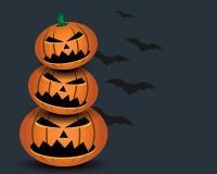 Halloweenowa bania z czarnym nietoperzem Obraz Stock